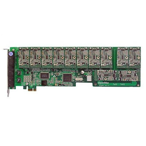 12 Port Analog PCI-E card + 12 FXS modules