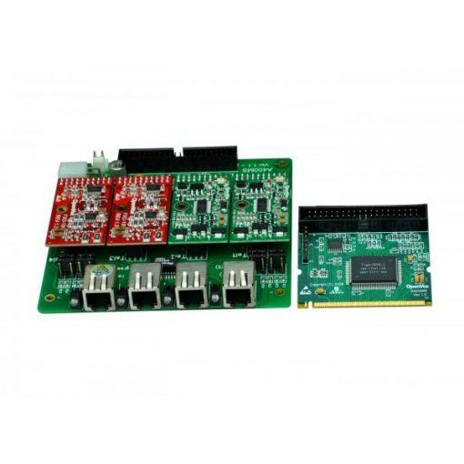 4 Port Analog Mini-PCI card + 3 FXO modules