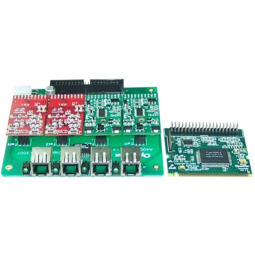 4 Port Analog Mini-PCI card + 1 FXS + 3 FXO modules