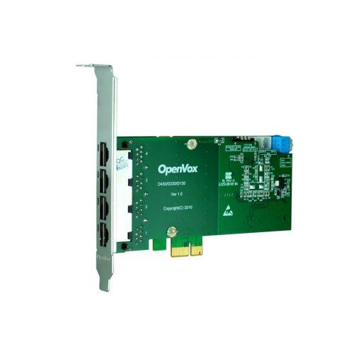 4 Port T1/E1/J1 PRI PCI-E card + EC2128 module (Advanced Version, Low Profile)